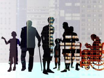 Silhouetten von Menschen und Häuserfassaden